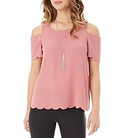 A. Byer Cold Shoulder With Necklace Top