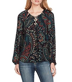 Jessica Simpson Laceup Neck Peasant Top
