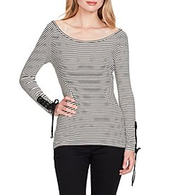 Jessica Simpson Vintage Stripe Off The Shoulder Laceup Sleeve Top