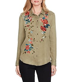 Jessica Simpson Long Sleeve Floral Embroidered Top
