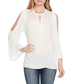 Jessica Simpson Lace Trim Cold Shoulder Top