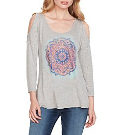 Jessica Simpson Cold Shoulder Everglow Graphic Top