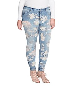 Jessica Simpson Plus Size Kiss Me Skinny Embroidered Jeans