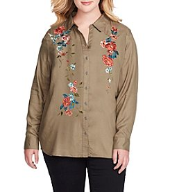 Jessica Simpson Plus Size Floral Embroidered Top