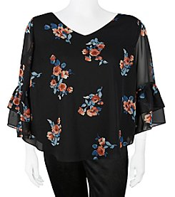 A. Byer Plus Size Floral Double V-Neck With Bar Back Top