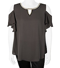 A. Byer Plus Size Cold Shoulder Jewel Neck Gigi Top