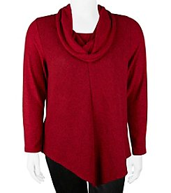 A. Byer Plus Size Cowl Neck Pullover V-Hem Top