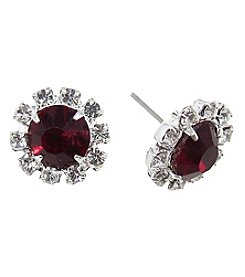 BT-Jeweled Crystal Halo Post Earrings