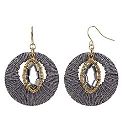 Relativity Goldtone Wrapped Circle Drop Earrings