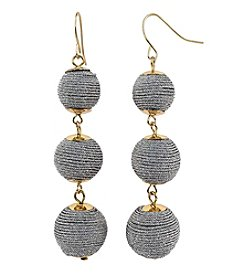 Relativity Goldtone Wrapped Bead Earrings