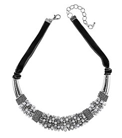 Relativity Silvertone Beaded Collar Necklace