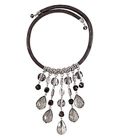 Relativity Silvertone Drop Necklace