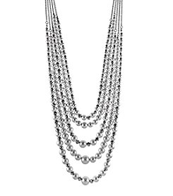 Relativity Silvertone Beaded Swag Necklace