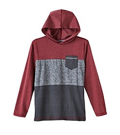 Distortion Boys' 8-20 Long Sleeve Color Block Knit Hoodie
