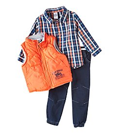 Nannette Baby Boys' Vest And Plaid Shirt Character Set