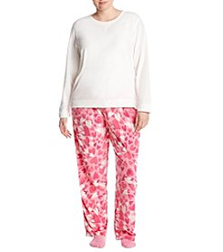 HUE Plus Size Heart Pattern Pajama And Socks Set