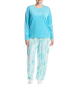 HUE Plus Size Heart Trees Pajama And Socks Set