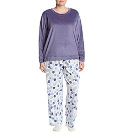 HUE Plus Size Bubble Pattern Pajama And Socks Set