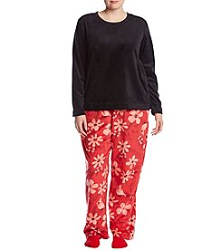 HUE Plus Size Floral Pattern Pajama And Socks Set
