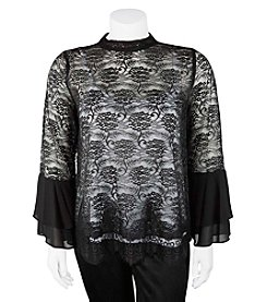 A. Byer Plus Size Double Bell Sleeve Lace Top