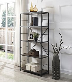 W. Designs Rustic Metal and Wood Media Bookshelf