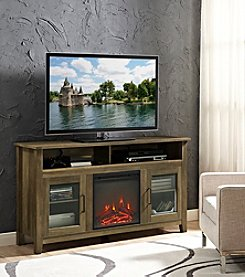 W. Designs Wood Highboy Fireplace TV Stand