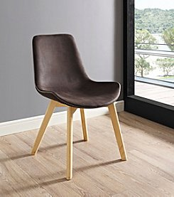 W. Designs Suede Side Chair with Edge Stitching