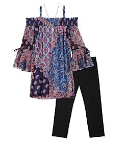 A. Byer Girls' 7-16 Chiffon Cold Shoulder Top And Leggings Set