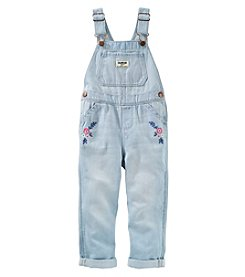 OshKosh B'Gosh Girls' 2T-5T Classic Embroidered Denim Overalls