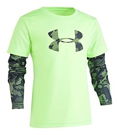 Under Armour Boys' 2T-7 Long Sleeve Utility Camo Big Logo Slider Tee