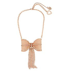 Betsey Johnson Rose Goldtone Large Bow Necklace