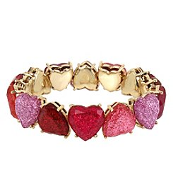 Betsey Johnson Goldtone Glitter Heart Stretch Bracelet