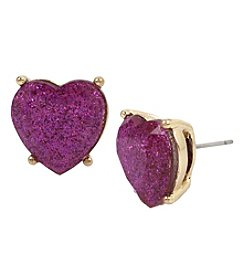 Betsey Johnson Goldtone Purple Heart Stud Earrings