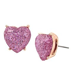 Betsey Johnson Goldtone Heart Stud Earrings