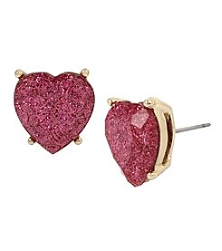 Betsey Johnson Goldtone Pink Heart Stud Earrings