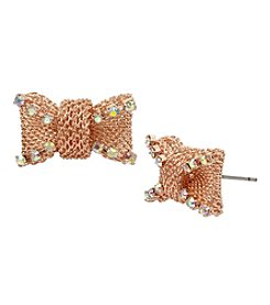 Betsey Johnson Rose Goldtone Bow Stud Earrings