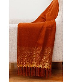 Thro by Marlo Lorenz Orange And Goldtone Mohair Throw