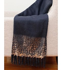 Thro by Marlo Lorenz Navy And Silver Mohair Throw