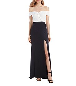 Speechless Off The Shoulder Contrast Side Slit Gown