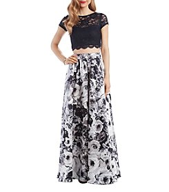 Speechless Floral Lace Illusion Top Allover Floral Pattern Paneled Skirt Two Piece