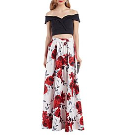 Speechless Sweetheart Neckline Top Floral Pattern Floor Length Skirt Two Piece