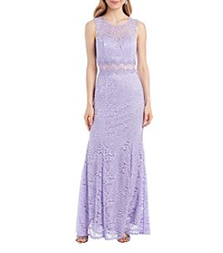A. Byer Floral Lace Illusion Floor Length Gown