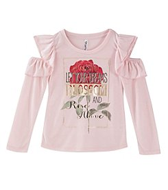 Beautees Girls' 7-16 Let Your Dreams Blossom And Rise Above Cold Shoulder Top