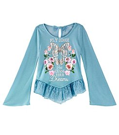 Beautees Girls' 7-16 Fly High And Chase Your Dreams Butterfly Top