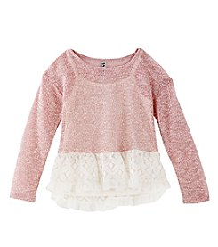 Beautees Girls' 7-16 Long Sleeve Top With Lace
