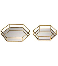 Sterling Set of 2 Mirrored Hexagonal Trays