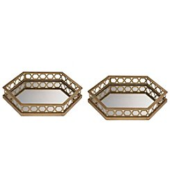 Sterling Set of 2 Ribbed Hexagonal Mirrored Trays