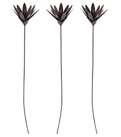 Sterling Set of 3 Bronze Leaf Blossom Stem