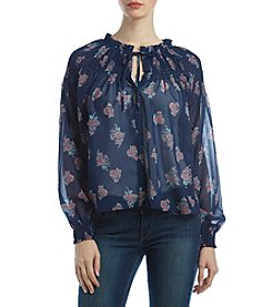 Hippie Laundry Smocked Button-Up Floral Print Top