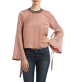 Hippie Laundry Tie Bell Sleeve Contrast Collar Top